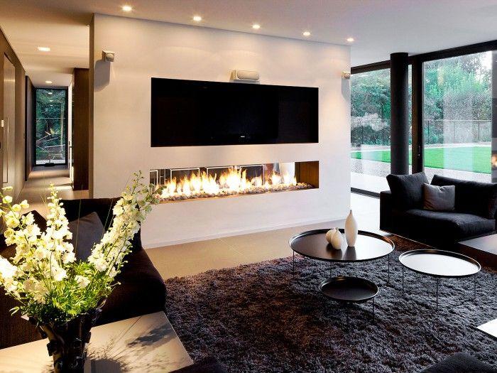 Gashaard als room devider tussen woonkamer en eetkamer living