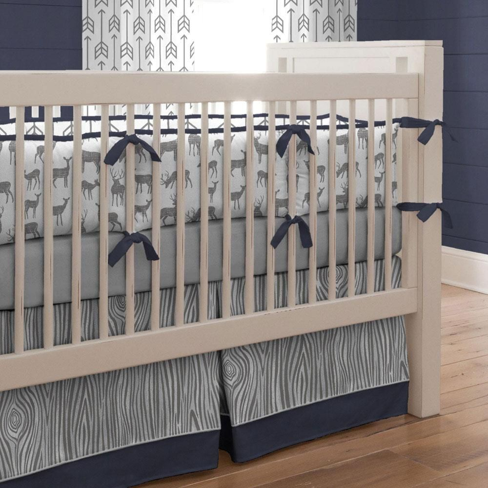 Gray And Navy Deer Crib Bedding Navy Crib Bedding Baby Crib
