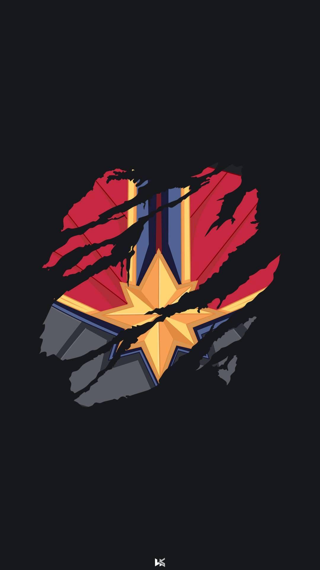 Captain Marvel Minimal Iphone Wallpaper Em 2020 Vingadores Marvel Vingadores Marvel