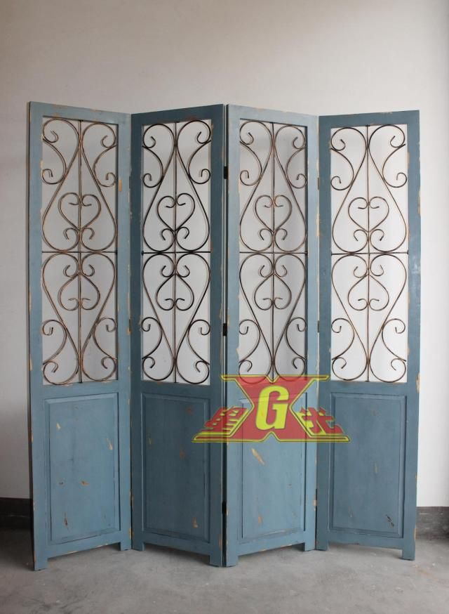 Folding Screen Room Divider Metal Wood Iron Art Home Decoration Paravent