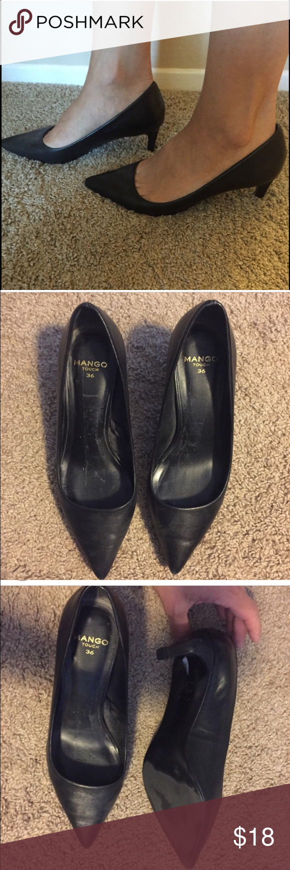✅Black Mango kitten heels✅ in amazing condition Mango kitten heels. Purchased in London and worn a few times. They are in great condition but too big for me as I wear 5.5. Mango Shoes Heels
