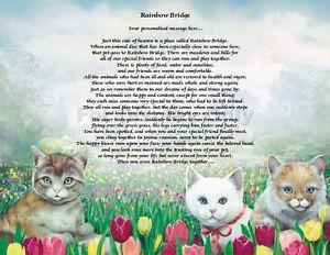 Free Rainbow Bridges Poems Personalized Cat Memorial Rainbow Bridge Poem Loss Of Pet Animal Pet Poems Rainbow Bridge Cat Memorial
