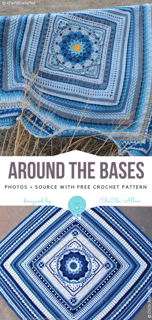 Around The Bases Afghan CAL Free Crochet Pattern #afghanpatterns