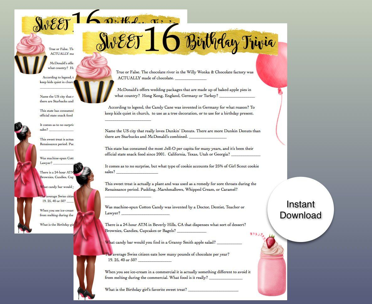 Sweet 16 Birthday Party Game All About Sweet Desserts Etsy 16th Birthday Party Sweet 16 Birthday Party Tween Birthday Party