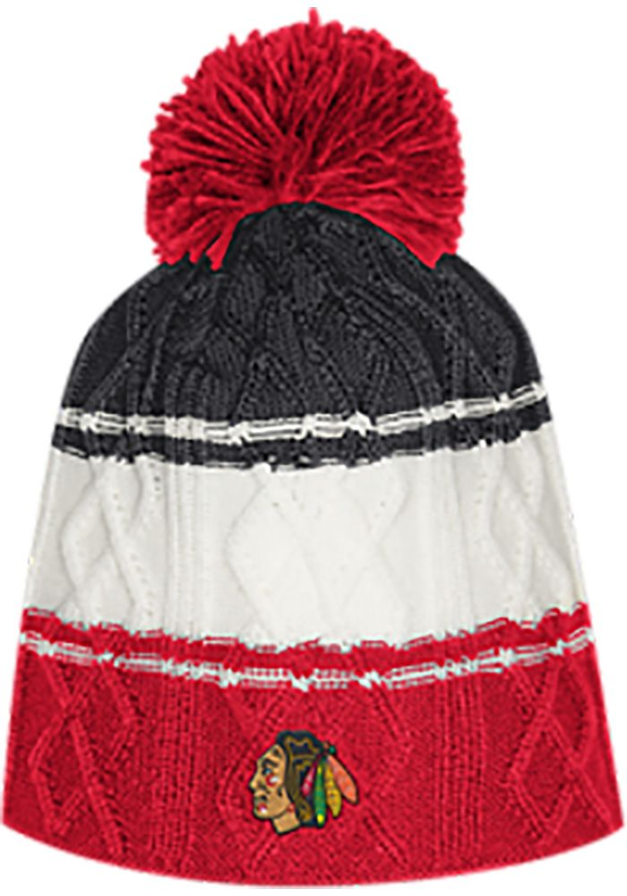 e158f88f40c2fb Adidas Chicago Blackhawks Red 3 Stripe Cable Womens Knit Hat, Red, Acrylic,  Size OSFM
