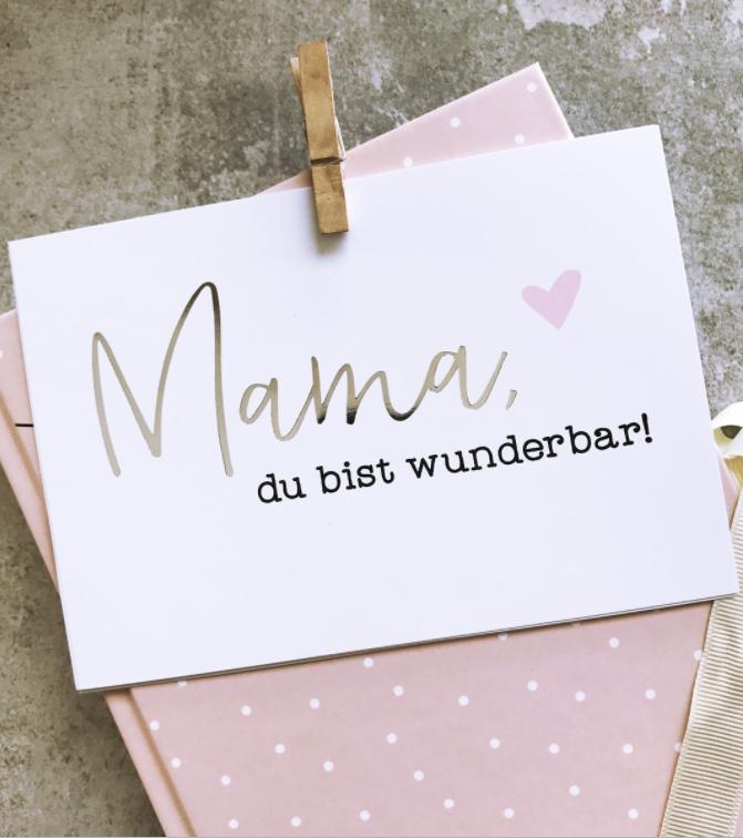 "Photo of Glitzer Postkarte ""Mama, du bist wunderbar"""