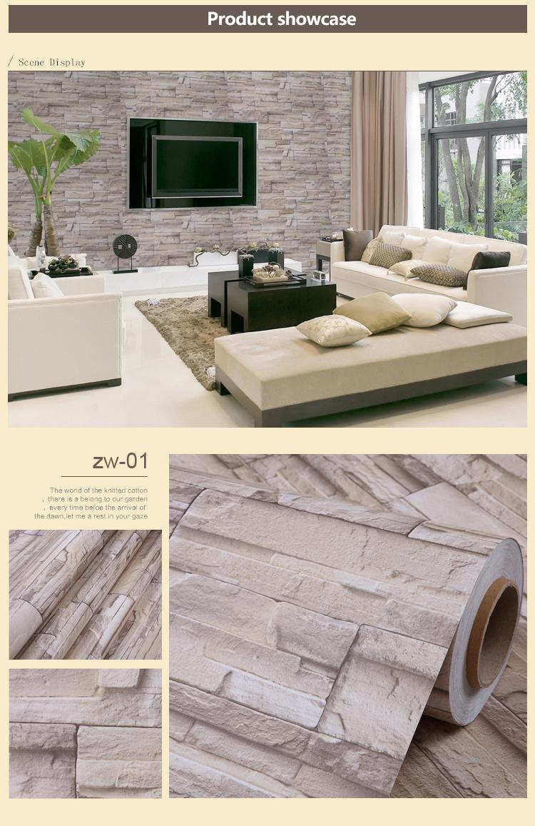 Waterproof Brick Vinyl 3d Wall Sticker Modern Living Room Tv