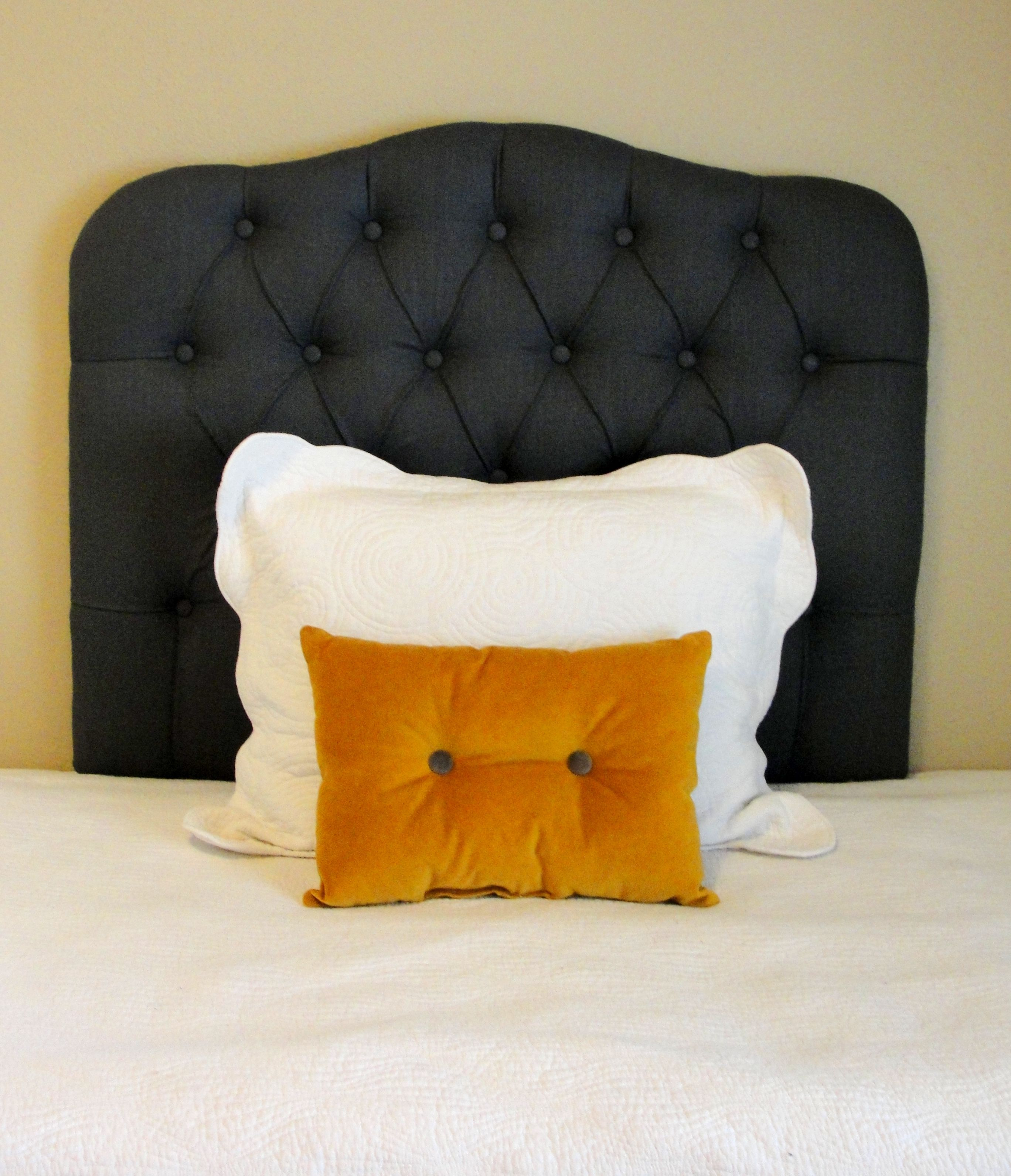 Twin sized upholstered tufted headboard in charcoal linen | Camas ...