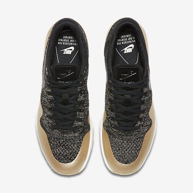new styles 6307c 838c4 Chaussure Nike Air Max 1 Pas Cher Femme Ultra 2 0 Flyknit Metallic Noir  Etoile Dor
