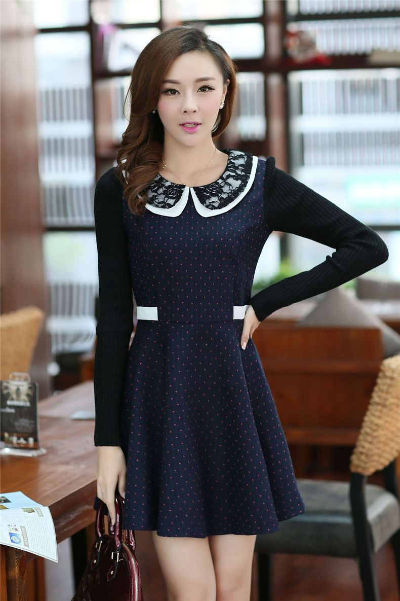 Ladies polka dots lace splice long sleeve dress great looks