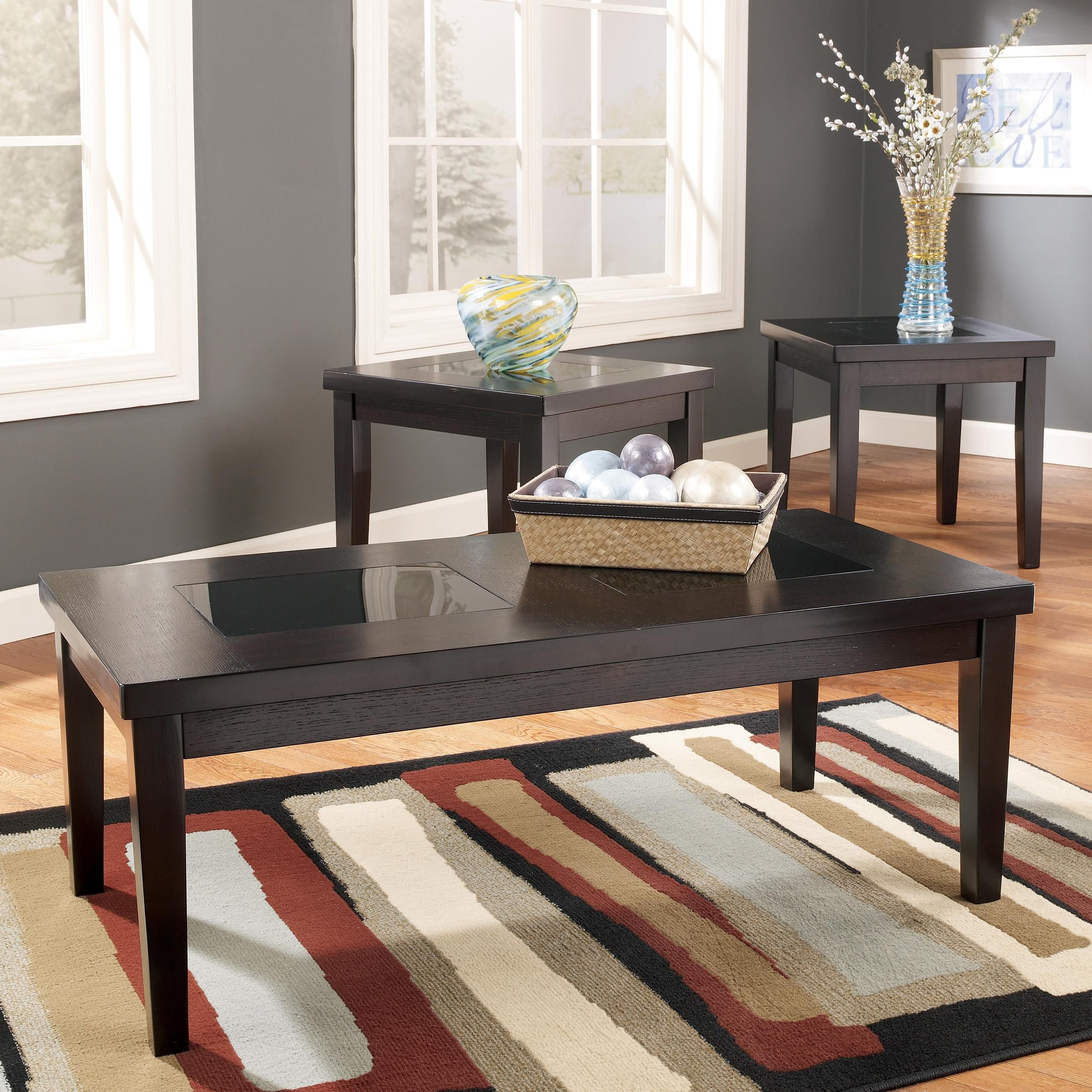 Denja 3 In 1 Pack Occasional Tables With Black Glass Insert Tops By Signature Design By Ashley At Value City Furniture Coffee Table Coffee And End Tables 3 Piece Coffee Table Set [ 2388 x 2388 Pixel ]