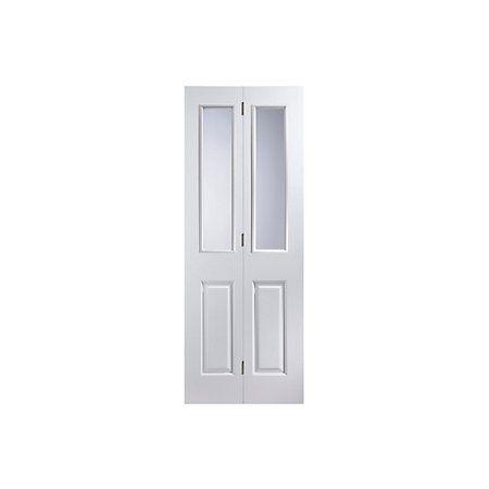 4 Panel 2 Lite Primed Smooth Glazed Internal Bi Fold Door H 1950mm W 750mm Departments Diy At B Q Bifold Doors Doors Paneling