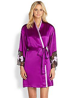 Natori - Lolita Lace Trim Wrap Robe