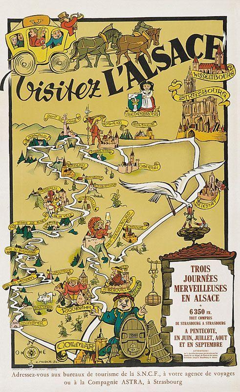 ALSACE VINTAGE TRAVEL POSTER France Railroad RARE NEW