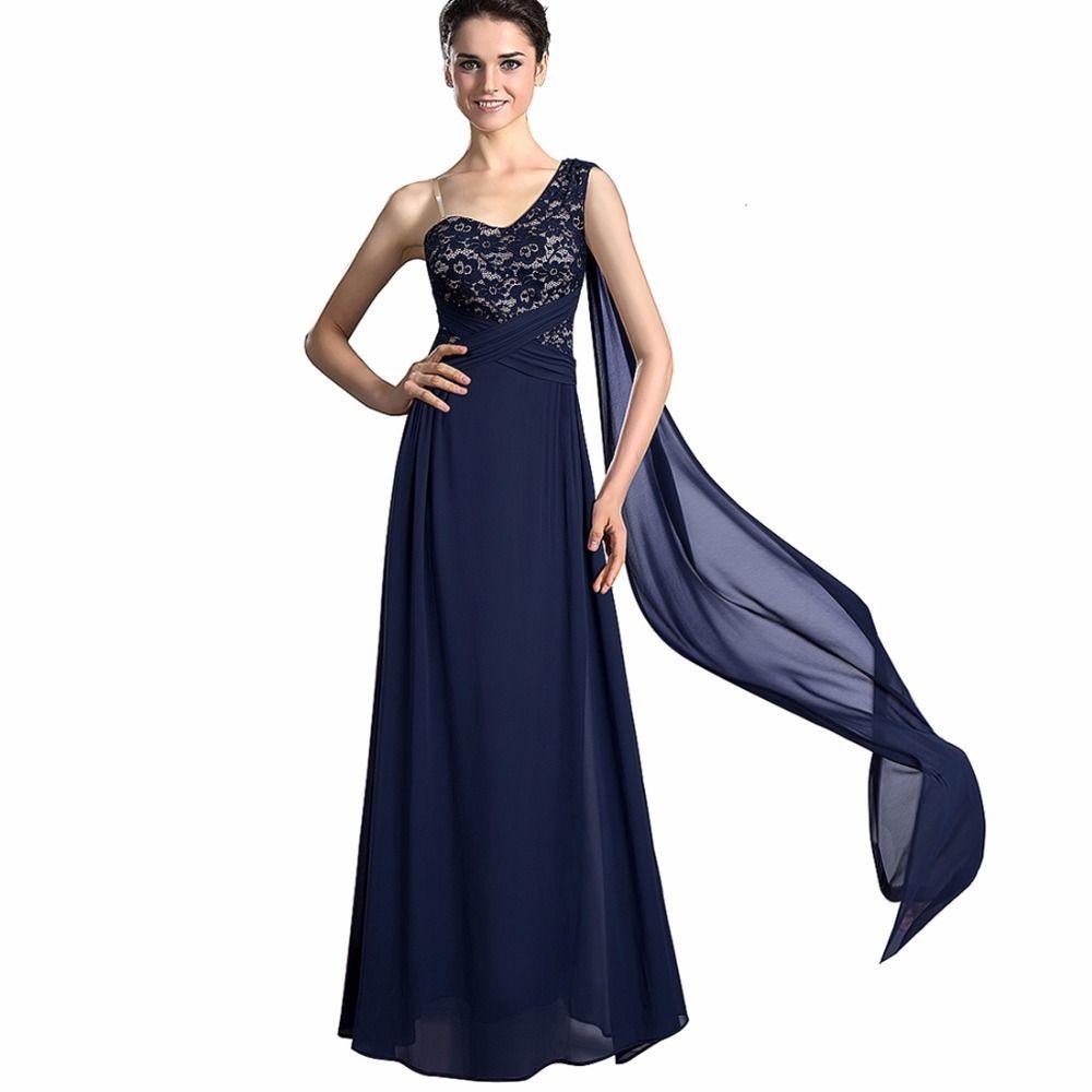 Women vintage sleeveless party wear elegant one shoulder lace long