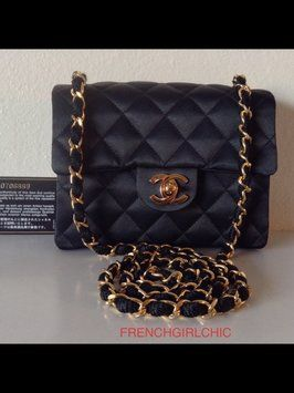 b7bf014178af Chanel Rare Vintage Silk Diamond Quilted Mini Flap With Card Black ...