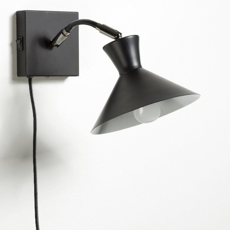 Aadhya 1 Light Plug In Matte Black Armed Sconce Sconces Dimmable Light Bulbs Wall Sconce Lighting
