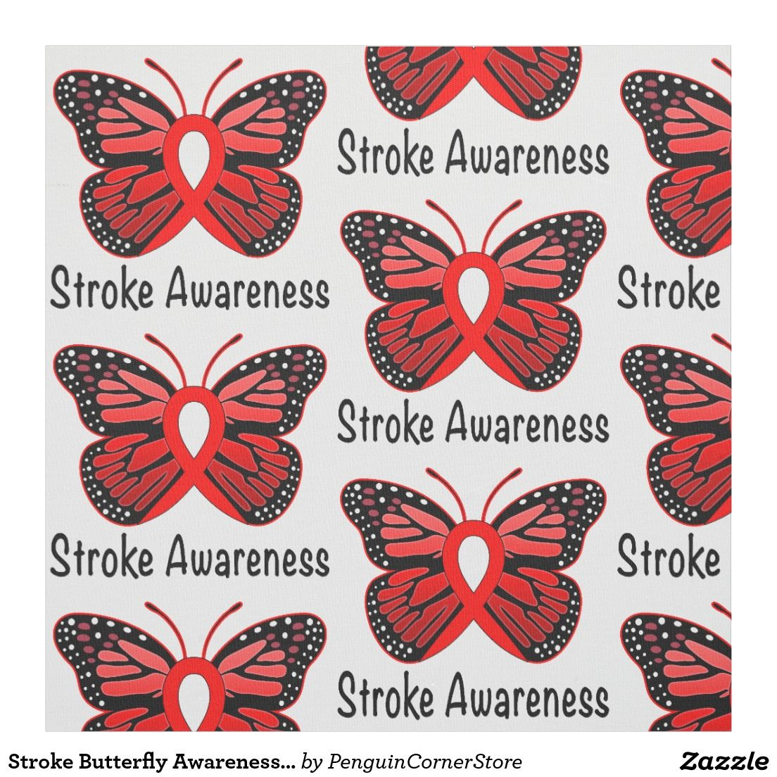 38a0a8b177d64 Stroke Butterfly Awareness Ribbon Fabric | Awareness Crusaders ...