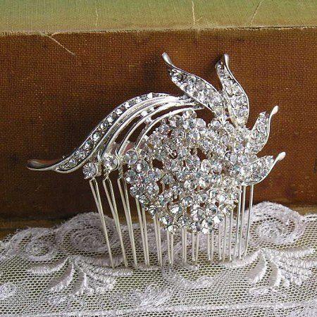 Crystal Bridal Hair Comb Brides Hair Comb by AaryannasBoutique