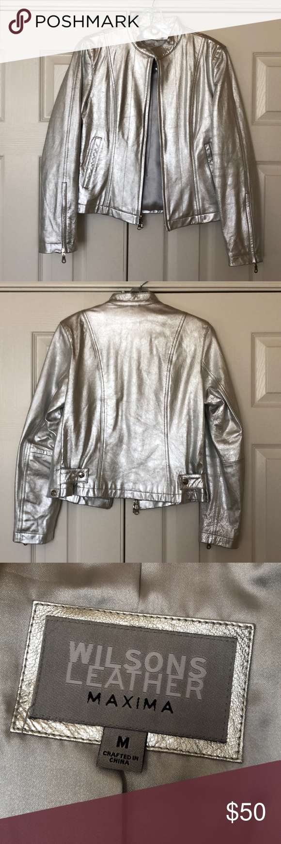 Wilson's Leather Maxima Silver Jacket Silver jacket