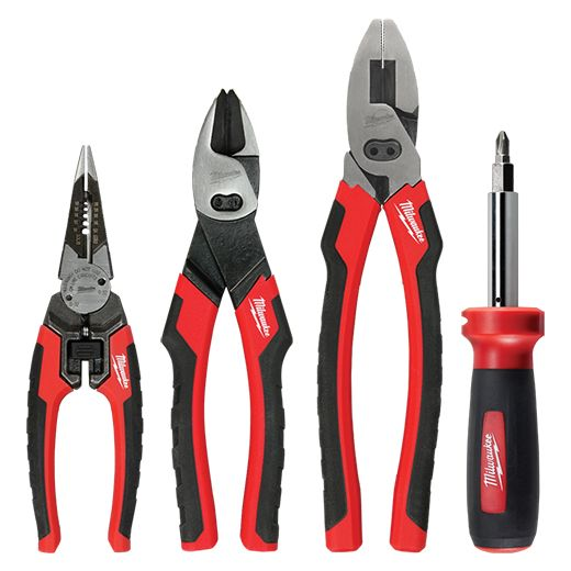 the milwaukee 4pc hand tool set includes 6in1 combo pliers 6in1 linemans pliers 6in1 8. Black Bedroom Furniture Sets. Home Design Ideas