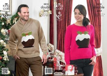 King Cole Ladies /& Mens Christmas Sweaters Glitz Knitting Pattern 3810 DK