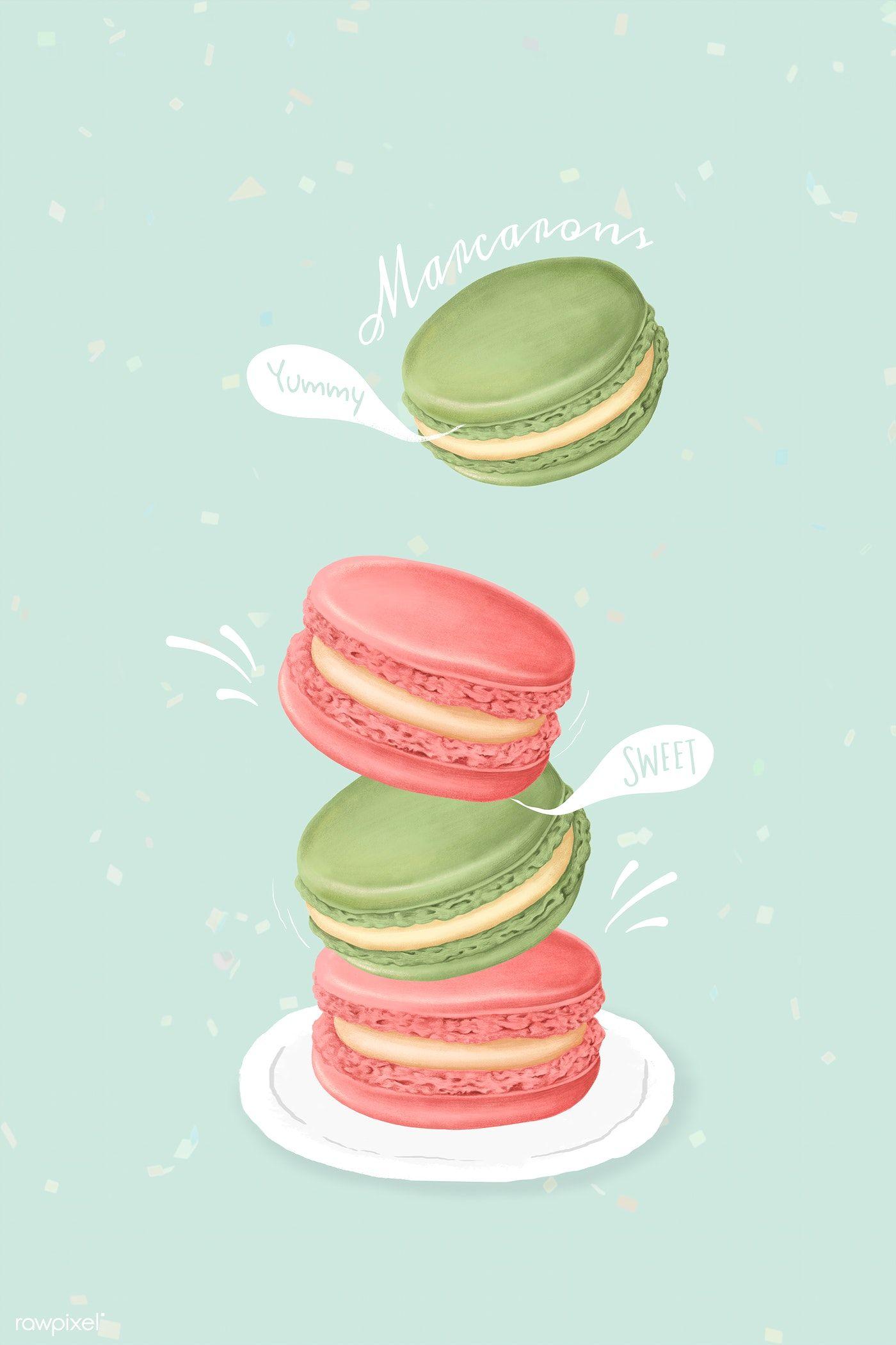 Hand drawn sweet macarons mockup free image by rawpixel