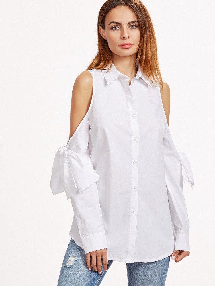 Bluse 2017 mit Cut-Out an der Schulter Weiß