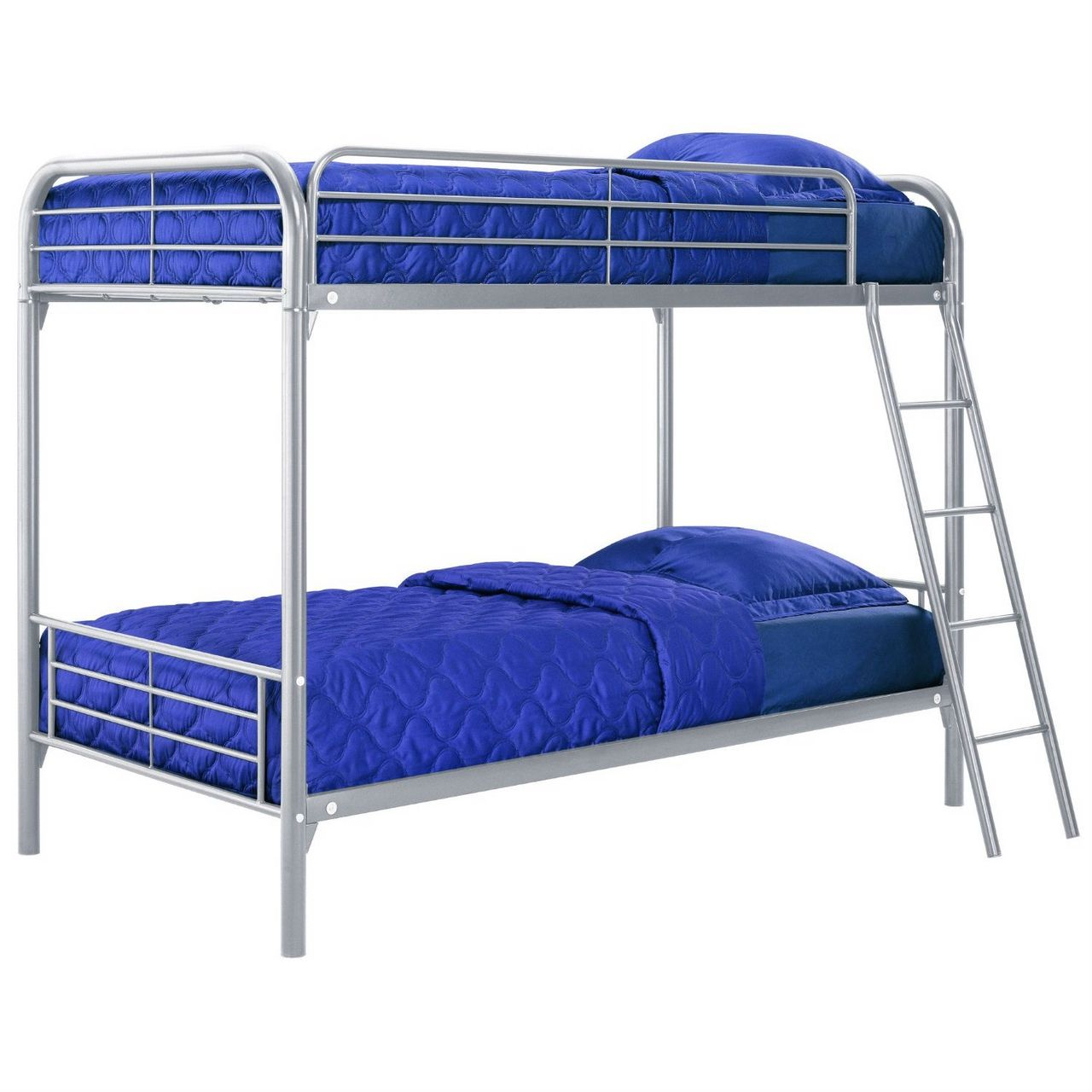 Twin over Twin size Silver Metal Bunk Bed | Twin Over Twin Bunk Beds ...
