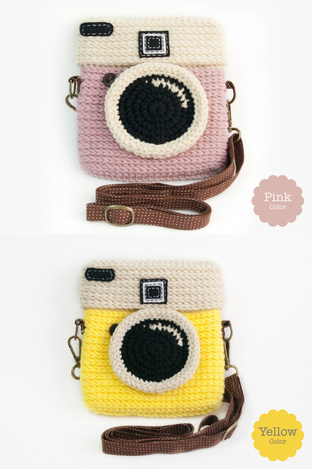 Crochet Lomo Camera Purse/ Pastel Mint Color #camerapurse