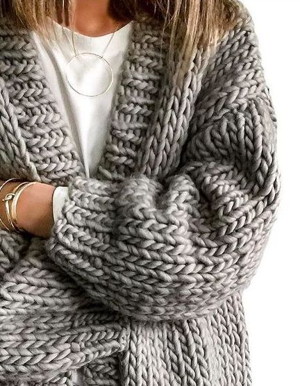 chunky knit + delicate jewelry.