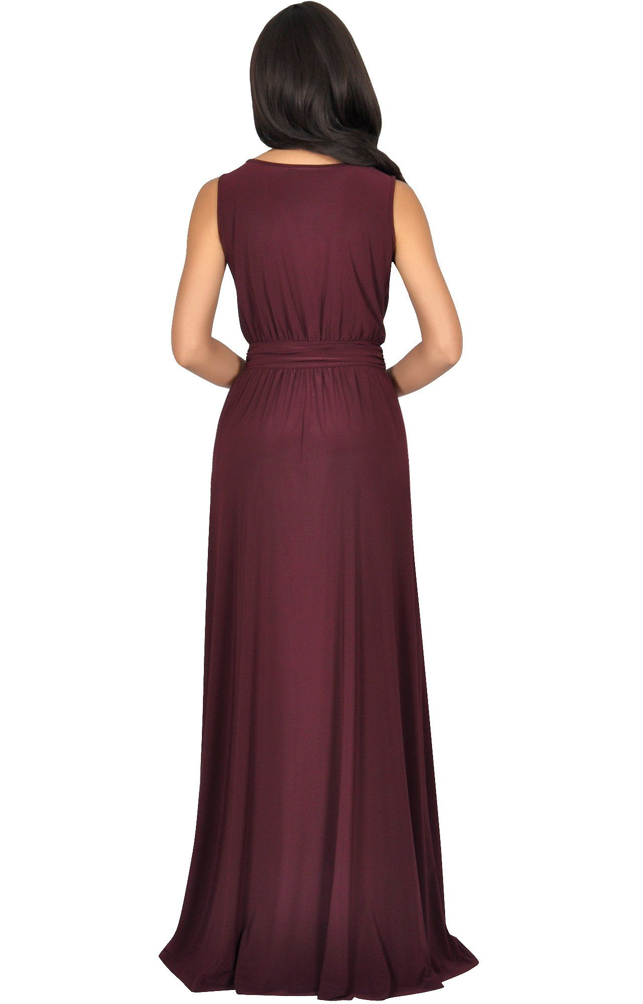 Koh koh plus size womens long sleeveless flowy bridesmaids cocktail