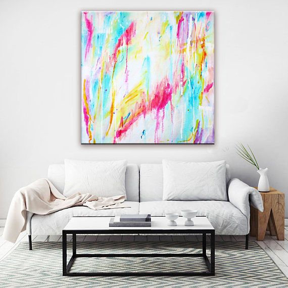 Abstract Art Painting Print, Canvas Wall Art Print, Pastel Drip