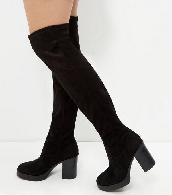 New Look Wide Fit Suedette Tie Back Over The Knee Boot Black Women Shoesnew look flat leather sandalsnew look saleBest Selling Clearance