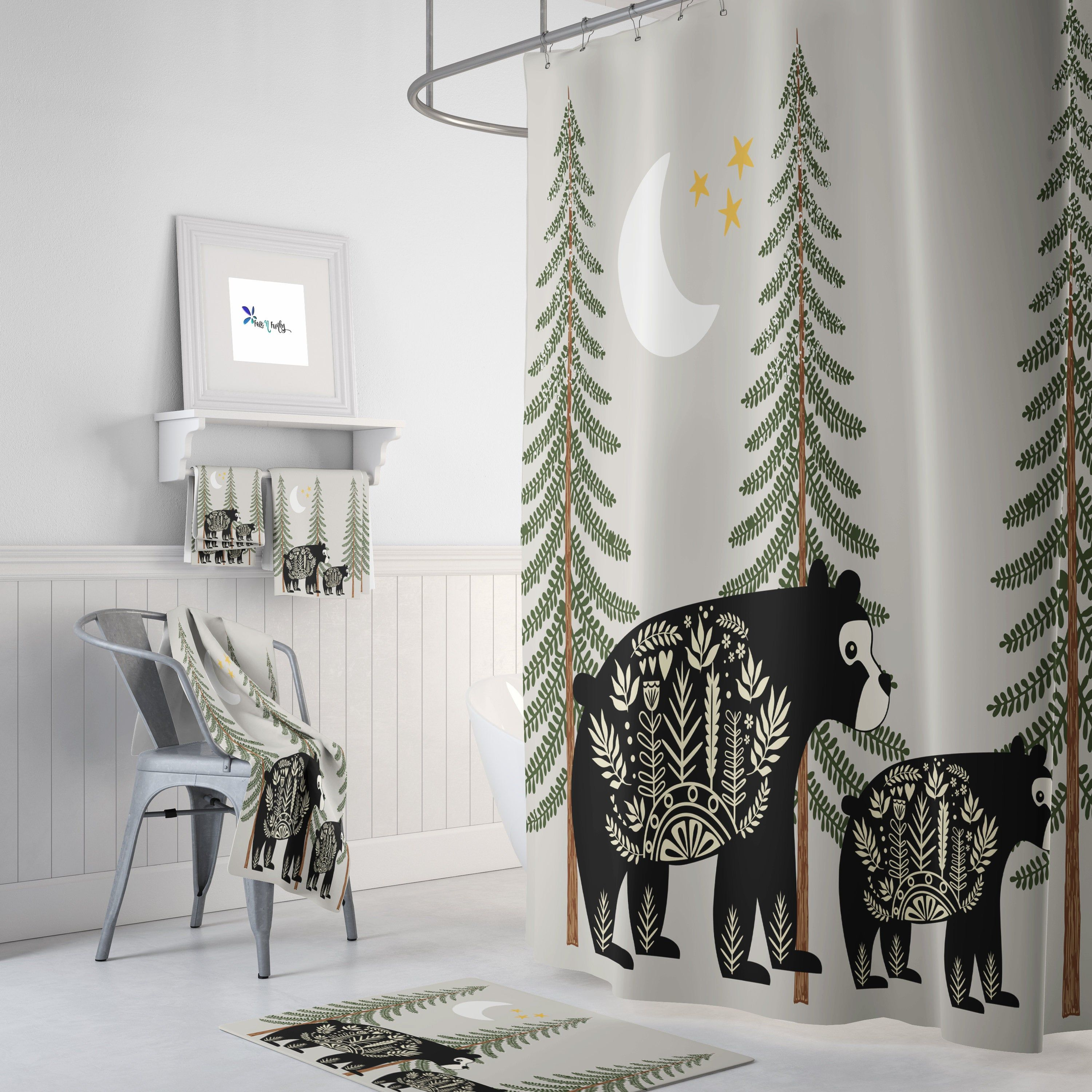 Nordic Bear Shower Curtain Woodland Rustic Country Etsy