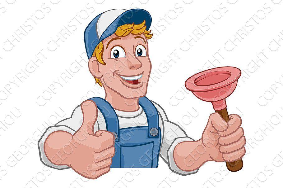 Plumber Cartoon Plumbing Drain In 2020 Cleaning Cartoon Cartoon Cartoon Garden