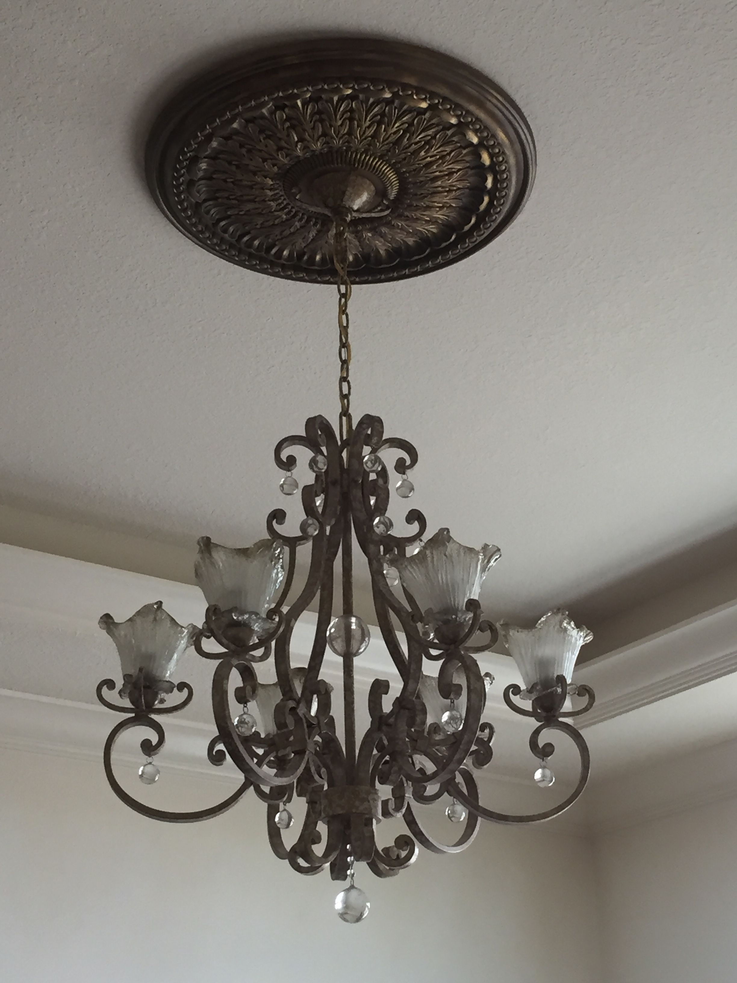 This is the hand blown glass chandelier with ceiling medallion