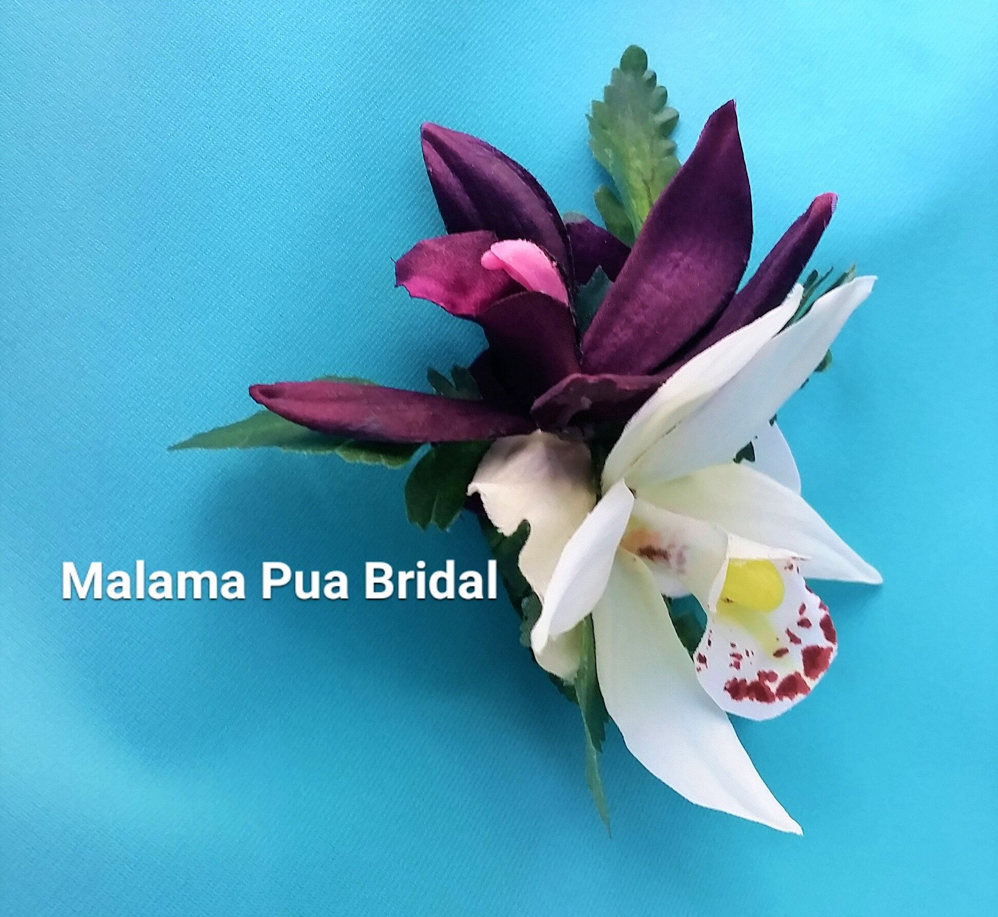 Tropical Flower Clip Silk Orchid Lily Hibiscus Wedding Headpiece Hair Clip Bridal Real Touch C Bridal Flowers Bridal Hair Flower Clip Wedding Headpiece