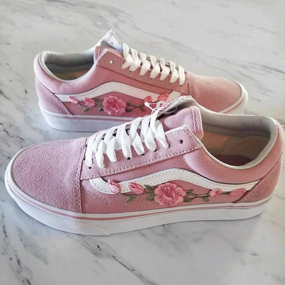 5b594162ee8 Pink Pink RoseBuds Custom Vans Old-Skool Sneakers in 2019