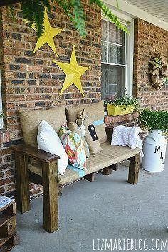 diy palett furniture summer porch, diy, outdoor furniture, outdoor living, painted furniture, pallet, porches, repurposing upcycling, DIY pallet bench with burlap cushions and DIY pillows