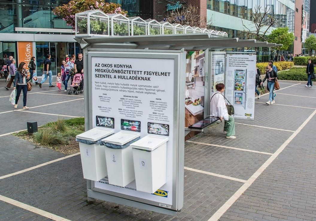 ikea goes green with a bus shelter in budapest jcdecaux hungary inspiracje pinterest bus. Black Bedroom Furniture Sets. Home Design Ideas