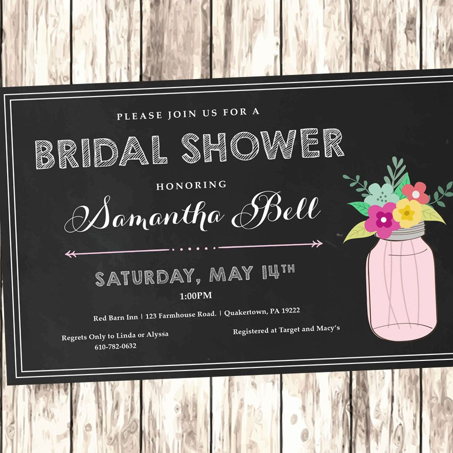 free bridal shower advice card template%0A Rustic Bridal Shower Invitation   Mason Jar   Chalkboard   Printable by  abbiesdesignstudio on Etsy