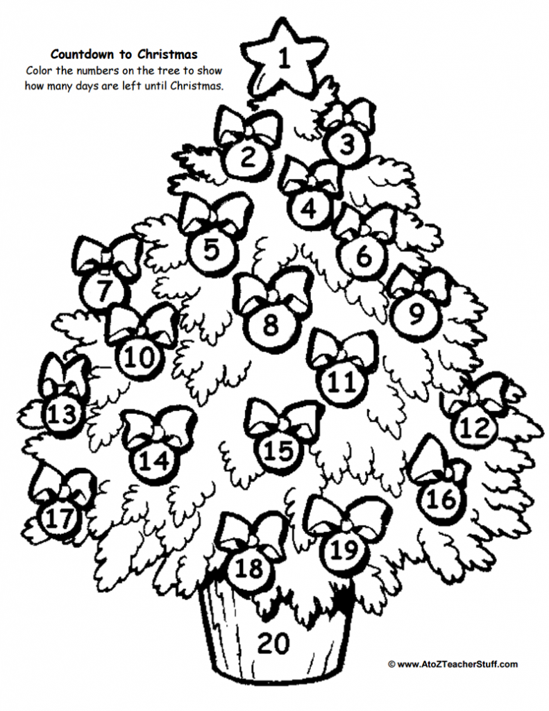 Christmas Tree Countdown Printable Christmas Tree Coloring Page Tree Coloring Page Christmas Colors