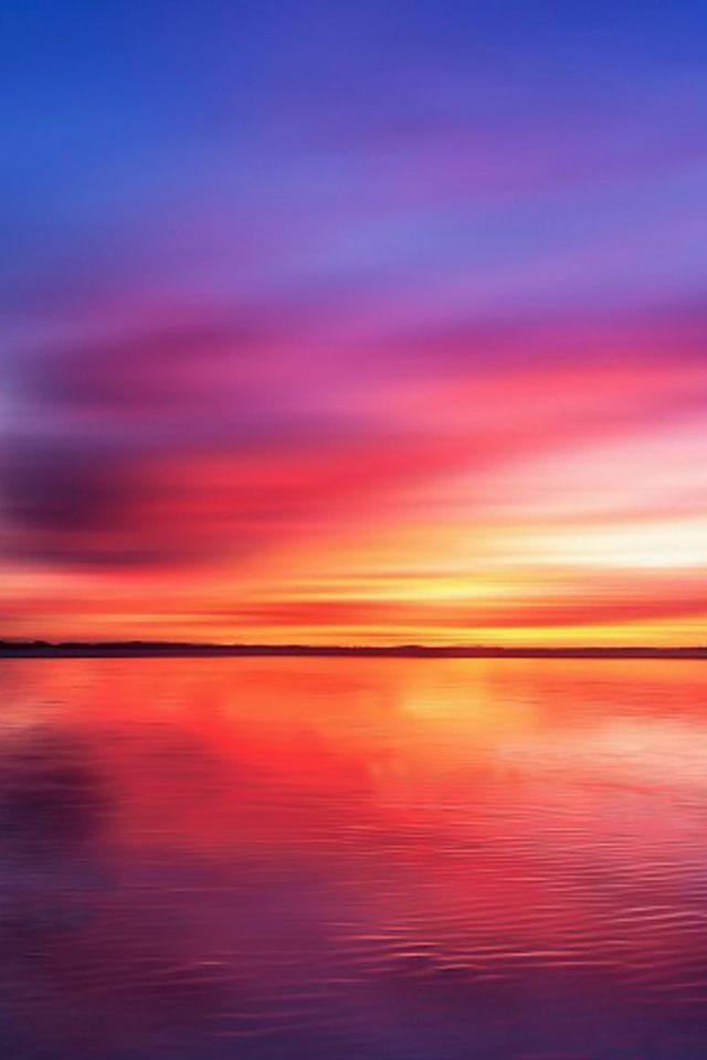 Burning Lake Sky Reflection #iPhone #4s #Wallpaper