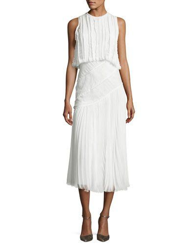056116905 Pleated Chiffon Lace-Inset Dress Chalk | *Neiman Marcus* | Dresses ...