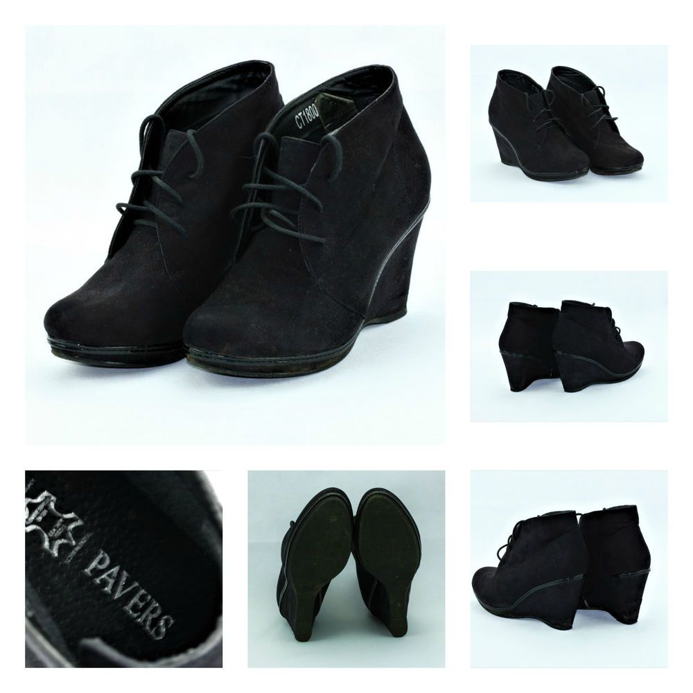 PAVERS WEDGE BLACK SUEDE ANKLE BOOTS