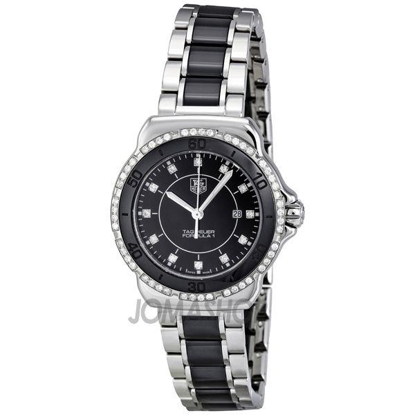 06f06bb1864 Tag Heuer Formula 1 Black Dial Steel and Ceramic Ladies Watch WAH1312.BA0867