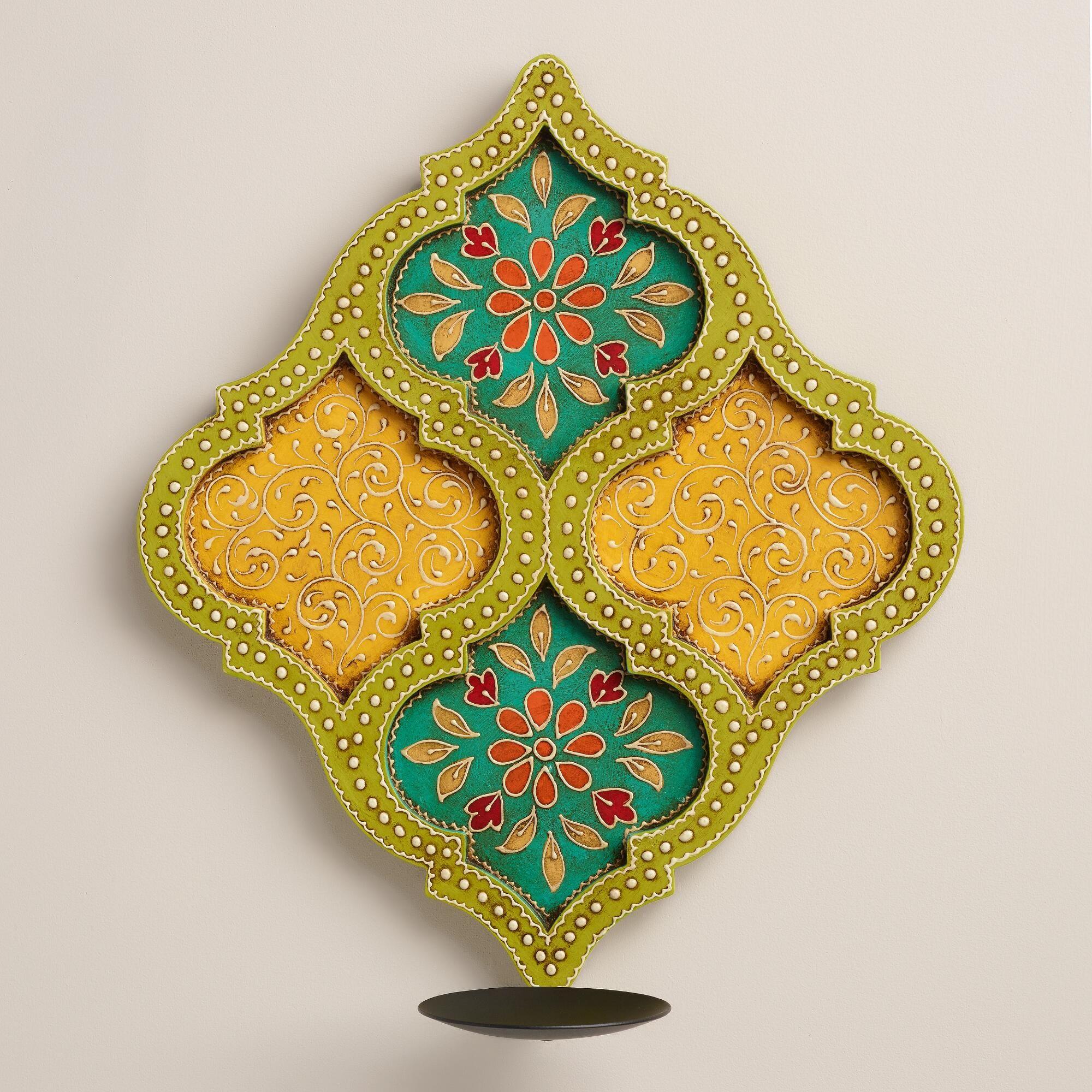 Hand-Painted Wood Jodhpur Sconce | World Market | mehrab & moroccan ...