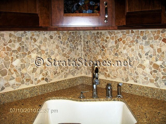 Opulence Tile Backsplash With Granite Image Black And White Pebble Tile Kitchen Backsplash Main Gallery