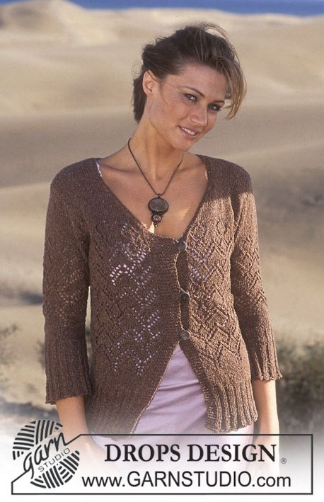 DROPS Cardigan knitted in lace pattern with Silke-Tweed. ~ DROPS ...